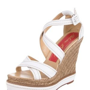 Paloma Berceló  White leather platform wedge.